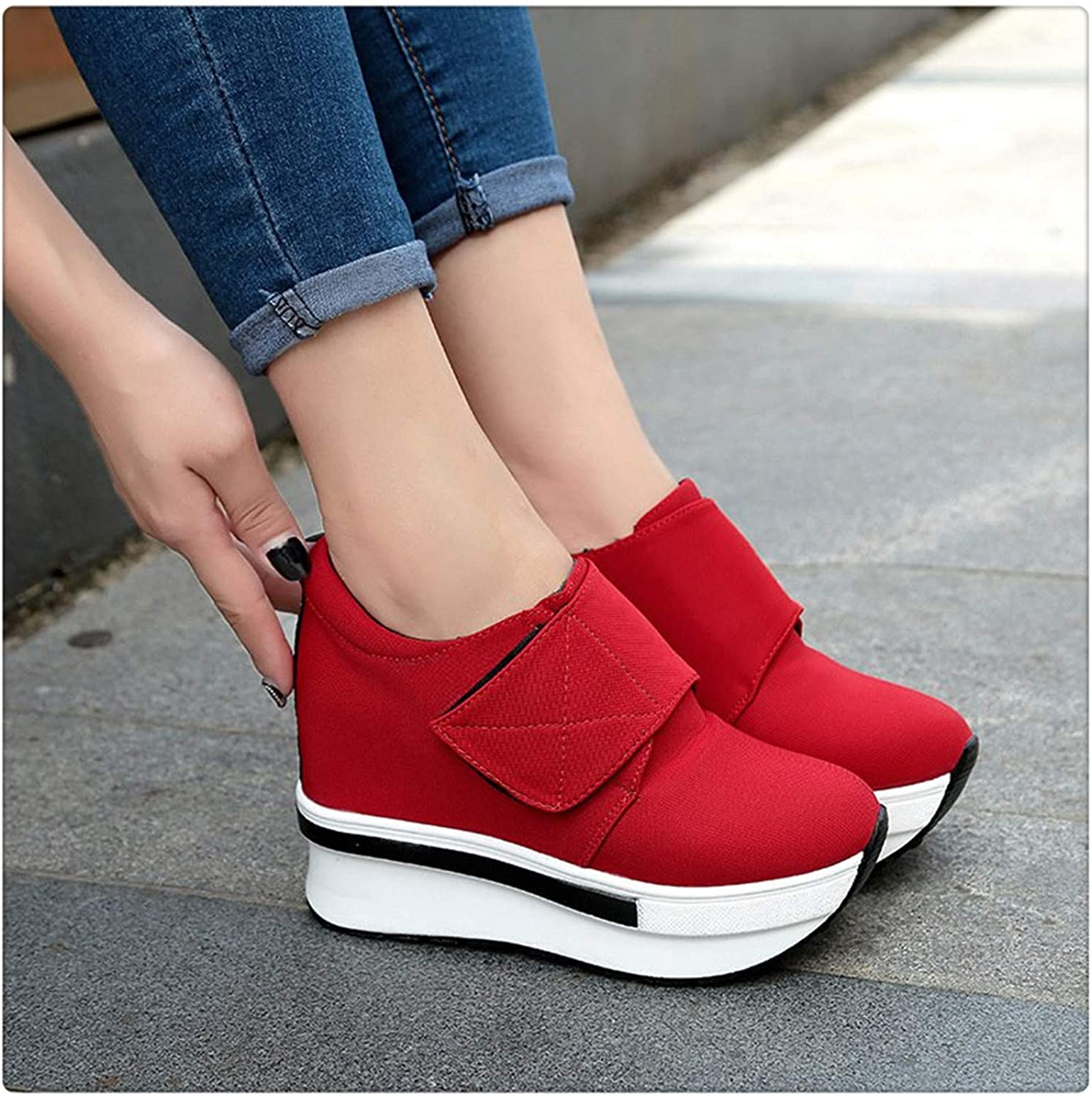 ANZLOU& Summer Women shoes Wedges Sneakers Slipony Ladies Canvas Platform shoes High Breathable Female Height Increasing Tenis Feminino Red 8