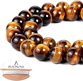BEADNOVA 10mm Yellow Tiger Eye Gemstone Round Loose Beads for Jewelry Making (38-40pcs)