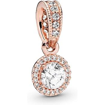 Pandora Jewelry Round Sparkle Halo Cubic Zirconia Necklace in Pandora Rose