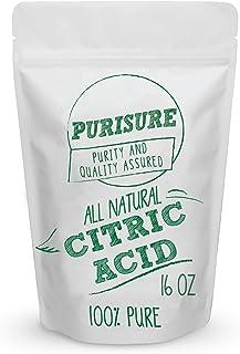Purisure Grado Alimenticio ácido cítrico en polvo 16Oz no