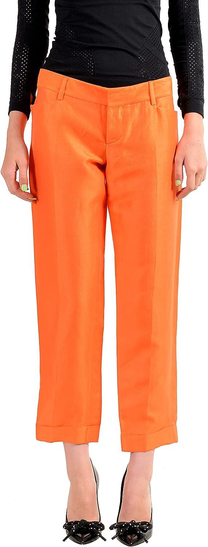 DSQUARED2 Women's Orange Silk Ramie Flat Front Casual Pants US S IT 40