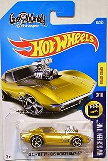Hot Wheels 2017 Hw Screen Time '68 Corvette Gas Monkey Garage 99/365, Gold, 1:64 Scale, Multi