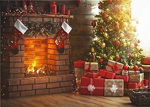 Christmas Theme Tree Stove Sock Fireplace Gift Blanket Photograhy Background Santa Reindeer Garland Christmas Ball Xmas Party Backdrop