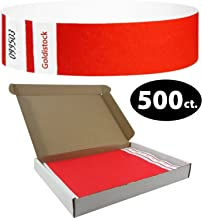 """Tyvek Wristbands - Goldistock Select Series with Box - Vibrant Neon Red 500 Count - ¾"""" Arm Bands - Paper-Like Party Armbands - Upgrade Your Event - Box Provides Extra Security & Convenience"""
