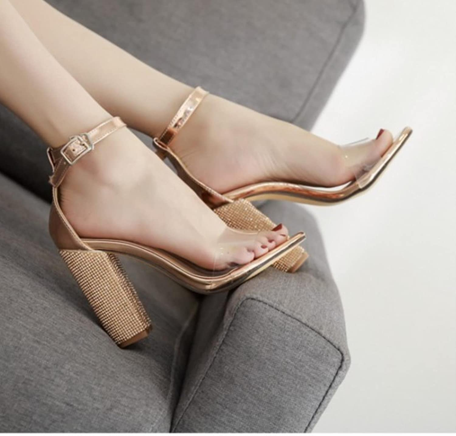 Women Pumps Clear Transparent Sandals Ankle Strap Crystal Rhinestone High Heel Thick Chaussure Femme Talon Party