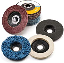 11PCS 4.5 Inch Flap Discs & Grinding Polishing Discs Set by LotFancy - 40 60 80 120 Grit Assorted Sanding Grinding Wheels, Strip Disc, Nylon Polishing Disc, Felt Polishing Disc Kit