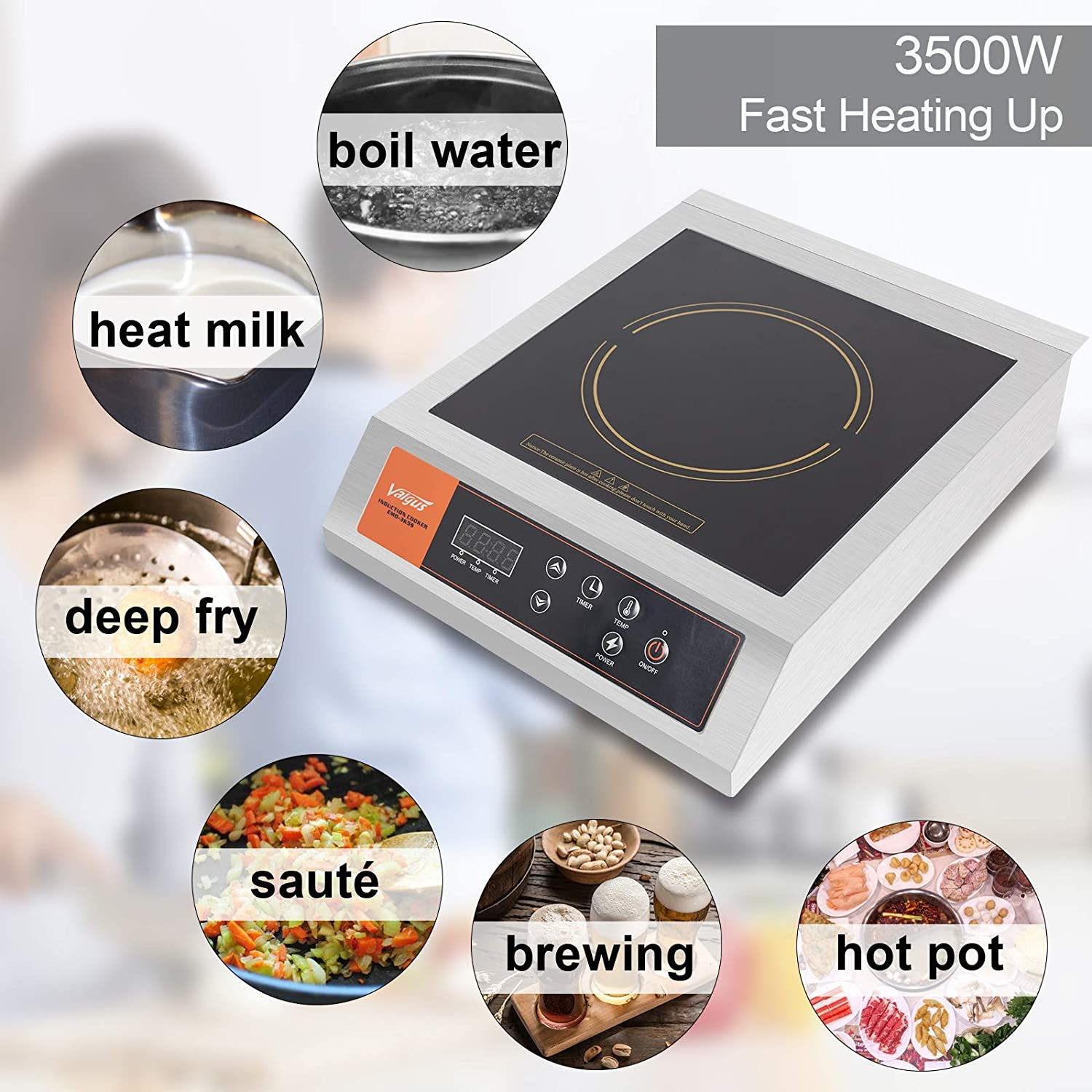 Industrial Kitchens and Catering Services Portable Quickly Heating Countertop Burner with Sensor Touch and LCD Screen for Home Brewing Beer Valgus 3500W Commercial Stainless Steel Electric Induction Cooktop