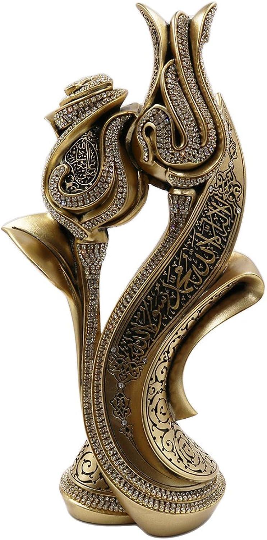 Islamic Table Decor Ramadan Eid Gift Bookend Showpiece Lale Gul Tulip & pink Allah Muhammad (gold)