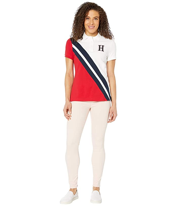 Tommy Hilfiger Adaptive  Polo Shirt with Magnetic Buttons (Bright White/Tango Red/Core Navy) Womens Clothing