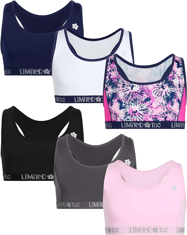 Limited Too Girls' Training Bra - Racerback Crop Cami Sports Bra (6 Pack)