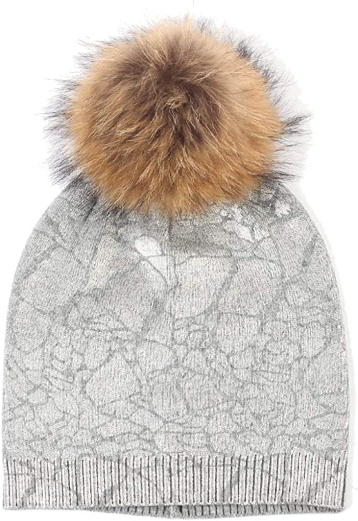 UKURO Women's Cable Beanie Hat Cozy Knitted Bobble Pompoms Metallic Color Single Layer Fashion Skully Caps