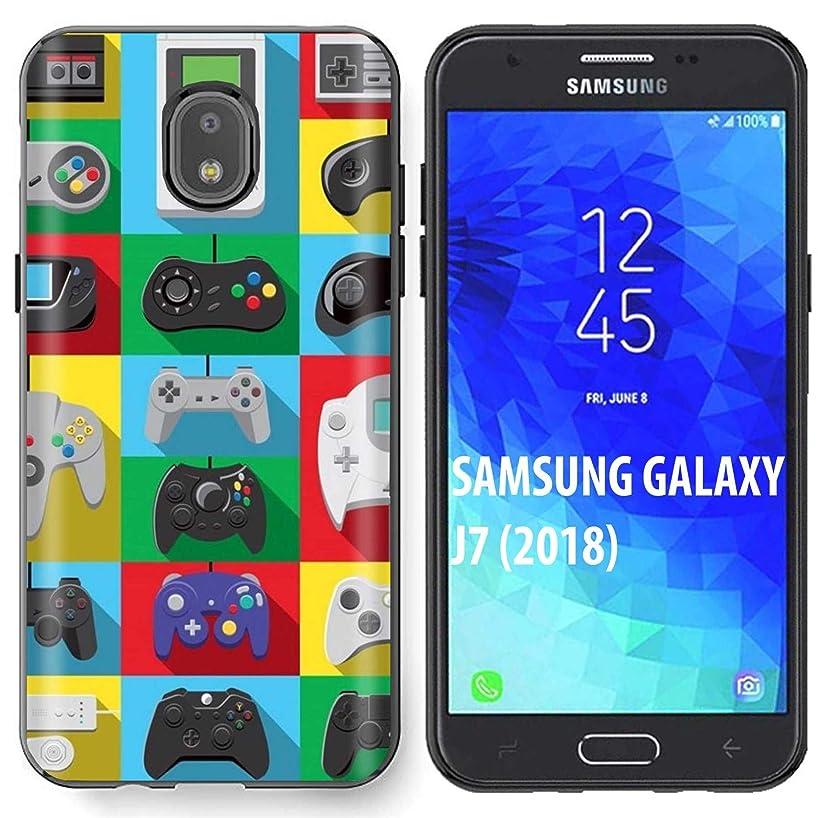 [NakedShield] Samsung Galaxy (J7 2018)/J7 Aero/J7 Refine/J7 Star/J737/J7 V 2nd Gen [Black] Ultra Slim TPU Phone Cover Case [Retro Nintendo Print]