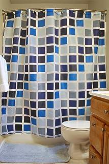 DII Oceanique 5-Piece Bathroom Starter Set, Includes 72x72 Shower Curtain, 12 Shower Hooks, 1 Soap Dish, 1 Cup, 1 Lotion D...