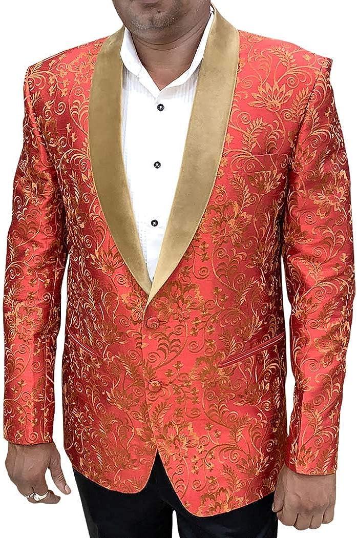 INMONARCH Embroidered Red Mens Shawl Collar Blazer Sport Jacket Coat SBM1083