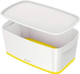 Leitz Caja Pequeña con Tapa, My Box, Caja de Almacenaje para Hogar y Oficina, 5 L, Acabado Brillante, Plástico, Blanco/Amarillo