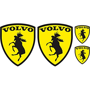 ca 10 cm x 7,7 cm 2 Stk . Volvo Ferrari Elch Sticker Fun Aufkleber