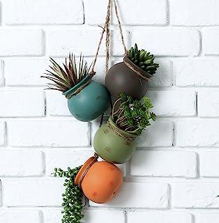 Dangling Southwest Desert Color Ceramic 4 Pot Set, Wall or Ceiling Mount Hanging Mini Flower Planters