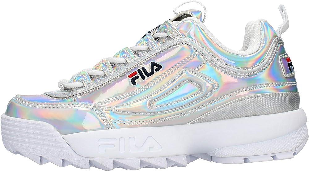 Fila disruptor m low w scarpa materiale misto pelle sintetica tessuto sneakers casual da donna 1010747-3VW