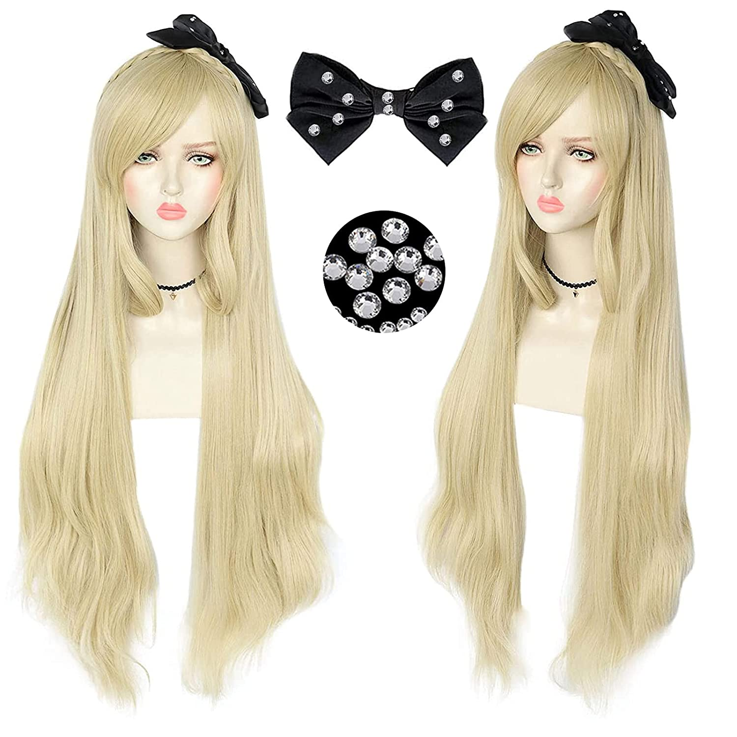 JoneTing Max 81% Fashion OFF Blonde Wig+{ Black bow} Cosplay Costume Long Synthetic
