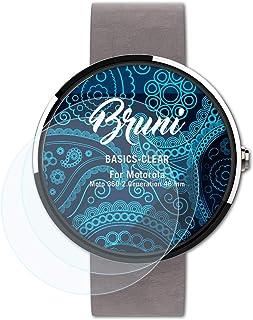 Bruni Skärmskydd är kompatibel med Motorola Moto 360 2.Generation 46 mm Film, kristallklart Skyddsfilm (2X)