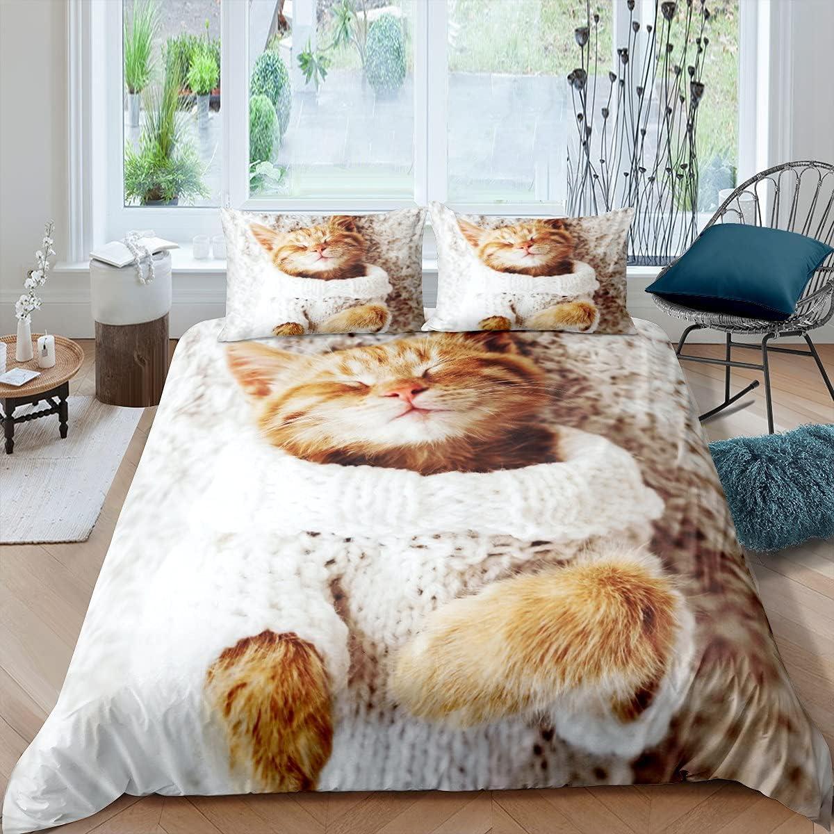 Manfei Cat Lover Comforter Cover Kitten Phoenix Mall Special Campaign Queen Size Sleeping Duve