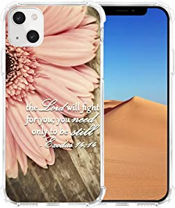 Case for iPhone 13 Mini, Hungo Soft TPU Cover Clear Heavy Duty Protection Compatible with iPhone 13 Mini Christian Sayings Bible Verses Theme Exodus 14:14