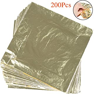 FOCCTS 200Pcs Imitation Gold Leaf Sheets for Arts, Gilding Crafting, Decoration, 5.5 x5.5 Inches