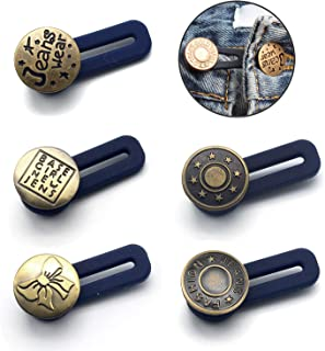 Button Waist Extender, 5 Pack No Sew Elastic Metal Button Pant Waistband Expander for Men or Women for Jeans, Collars, Cuffs, Khakis and Dress Slacks, Add 1 Inch to Waistline Instantly