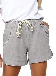 YHBAO Women's Drawstring Elastic Waist Casual Comfy Cotton Linen Beach Shorts