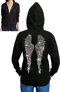 Interstate Apparel Inc Juniors Huge Angel Wings Rhinestone Fleece Zipper Hoodie Black S-2XL