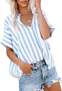 Womens Summer Blouses Casual V Neck Stripe Short Sleeve...