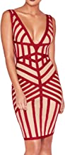 UONBOX Women's Sleeveless Deep V Neck Bandage and Mesh Night Club Party Dress