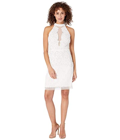 Adrianna Papell Halter Beaded Illusion Neck Cocktail Dress (Ivory) Women