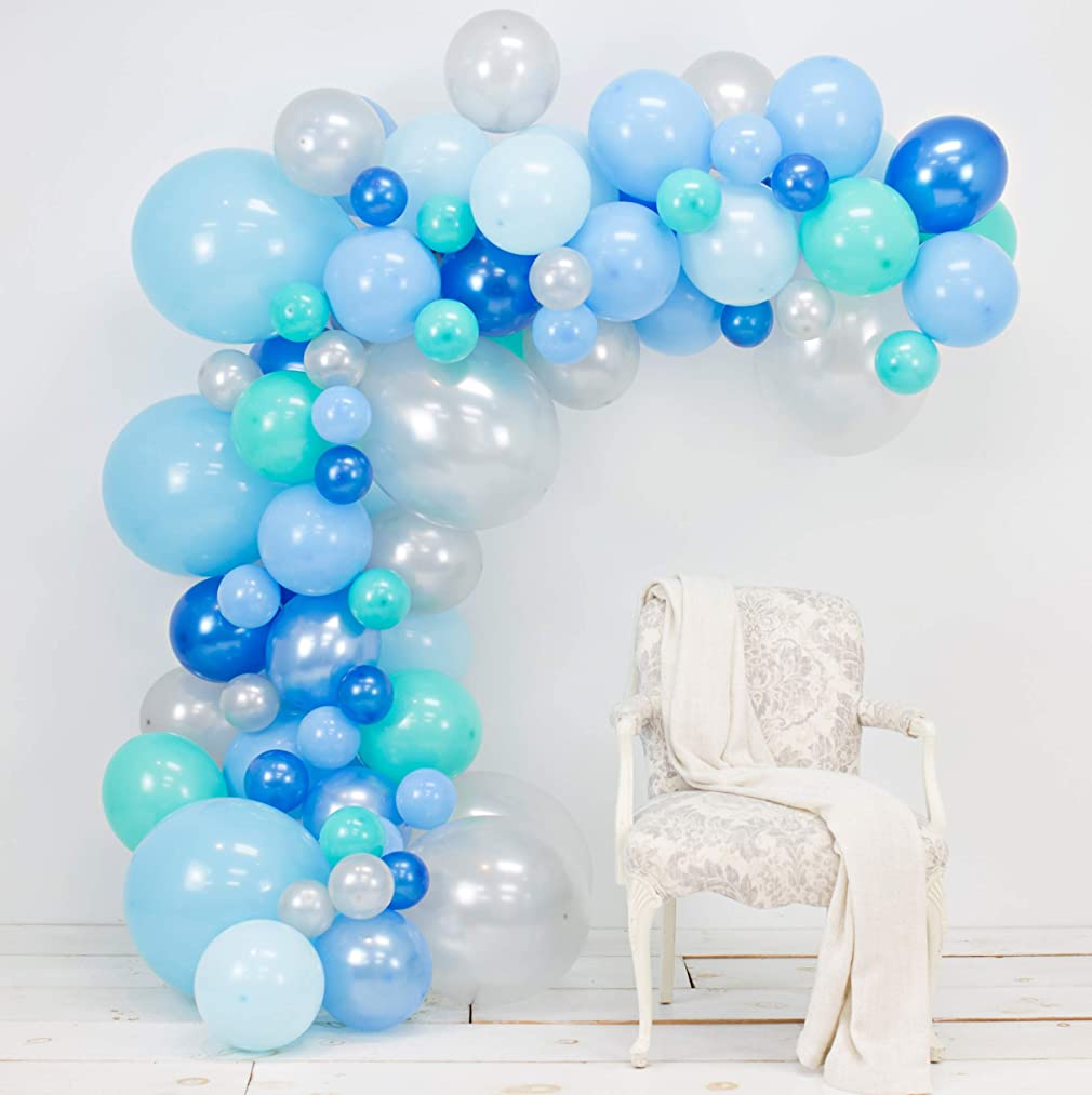 Junibel Balloon Arch & Garland Kit | Blue, Silver & Tiffany Sm to XLarge Balloons | Glue Dots | 17' Decorating Strip | Wedding, Boy Baby Shower, Graduation, Anniversary & Organic Party Decorations