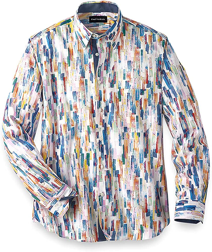 Paul Fredrick Men's Easy Care Cotton Abstract Stripe Casual Shirt