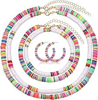 PHALIN Heishi Surfer Choker Necklace Hoop Earrings Rainbow Bead Anklets Stretch Bracelet for Women Multicolored Vinyl Disc...