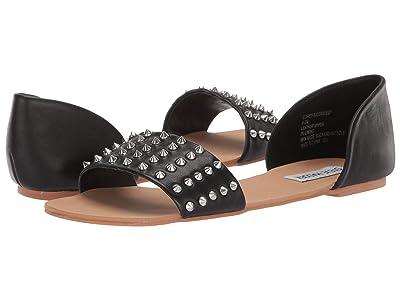 Steve Madden Corey-S Flat Sandal (Black Leather) Women