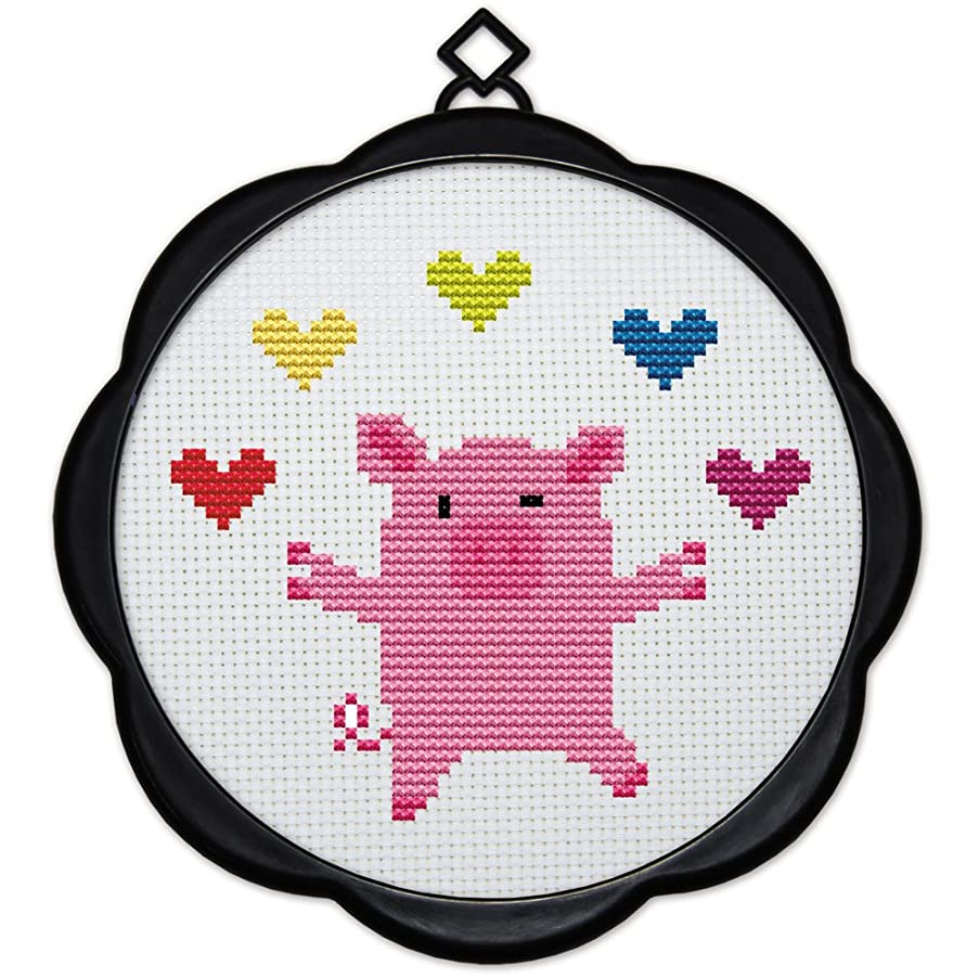 Full Range of Embroidery Starter Kits Stamped Cross Stitch Kits Beginners for DIY Embroidery (Multiple Pattern Designs) - A Little Pig