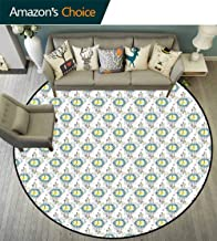 Tattoo Round Rug Girls,Abstract Clocks in Boho Style with Watercolor Dots Timekeeper Horologe Reusable and Easy to Clean,Turquoise Yellow Purple,D-63