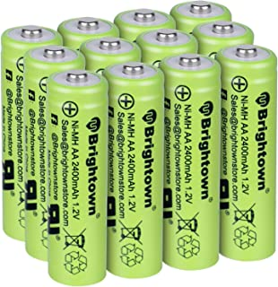 NiMH Rechargeable AA Battery Pack of 12, High Capacity 2400mAh 1.2v Pre-Charged Double A Battery for Battery String Lights TV Remotes Wireless Mouses Radio Flashlight Game Controllers Electronic Toys