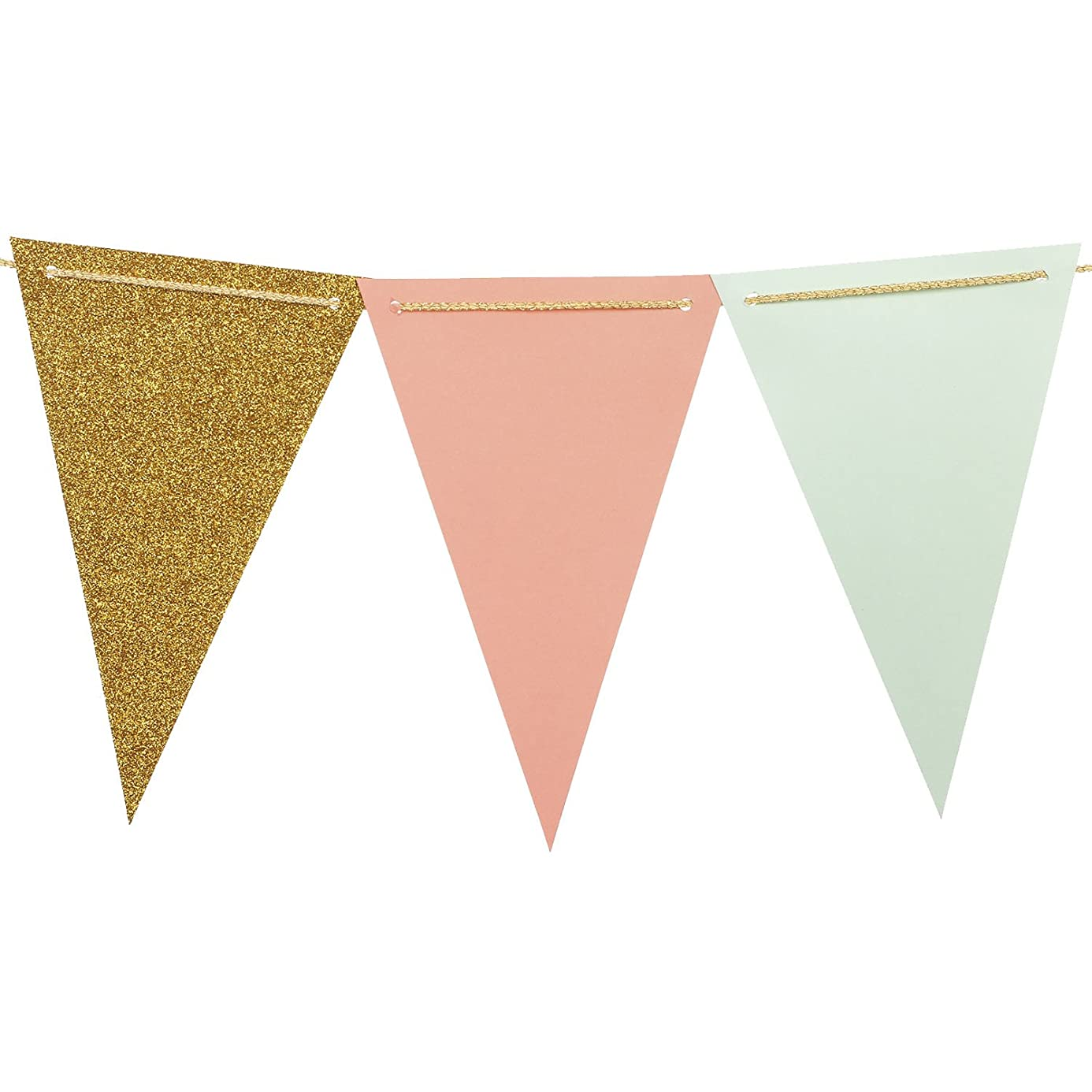 Ling's moment Paper Triangle Bunting Banner Flags, Boho Chic Pennant Banner Garland for Wedding, Baby Nursery, Bridal Shower, Birthday, Event & Party Supplies, 15pcs Flags(Mint+Coral+Gold Glitter) xqp6943765