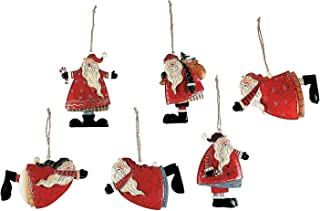Set of 12 Painted Tin Santa Folk Decoration Christmas Ornaments