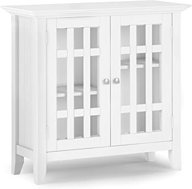 SIMPLIHOME Bedford SOLID WOOD 32 inch Wide Rustic Low Storage Media Cabinet in White, with 2 Tempered Glass Doors, 2 Adjustab