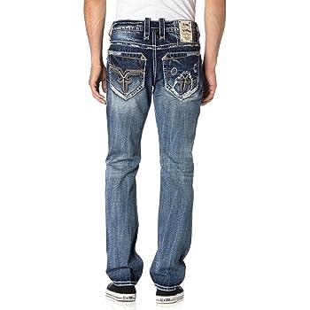 ROCK REVIVAL men BENEY A202 Alt Straight MENS Jeans distresed 34X33 36x33 42x33