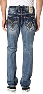 ROCK REVIVAL MEN'S VIETIA A204 ALT STRAIGHT CUT JEANS (Waist 40 Length 34)