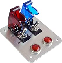 2 Rows Safety Cover Toggle Switch with Red Indicator Light Aluminum Plate 12V 20Amp (Red/Blue)