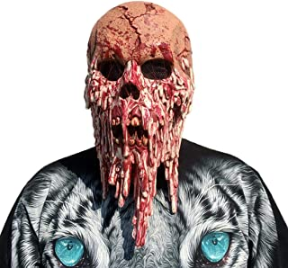 XILALU Bloody Zombie Head Mask, Halloween Creepy Scary Skull Melting Face Latex Costume Cosplay Party Props Walking Dead