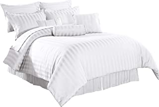 Cozy Beddings Royal Calico 7pc Comforter Set, Damask Stripe 100% Cotton 350 Thread Count Bed Cover Queen, White