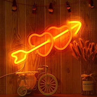 15.9' Decorative LED Heart Shaped Neon Sign Light, Wall Decor Art Neon Sign for Home Decoration,Bedroom, Lounge, Office, Wedding, Christmas, Valentine's Day Party Operated by USB