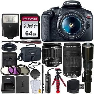 Canon EOS Rebel T7 デジタル一眼レフカメラ + EF-S 18-55mm is II レンズ + EF 75-300mm レンズ + 500mm 望遠レンズ + Canonバッグ + フィルターキット + 64GB メモリーカ...